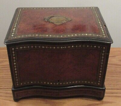 Antique French ornate inlaid abalone/brass Tantalus/liquor chest burl wood box