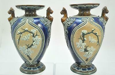 Pair of Antique Ornate Royal Doulton Slaters Patent 11 Inch Stoneware Vases 1886