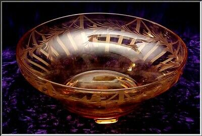 Antique Amber Cut Glass Footed Center Bowl  w/ Etched Floral  Feathers & Pillars