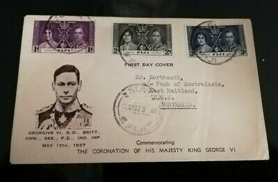 1937 Fiji KGV1 Coronation First day Cover Special Envelope sent to Australia