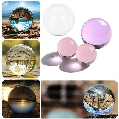 Clear/Pink/Purple Sphere Glass Crystal Ball Healing Gemstone Quartz Stone