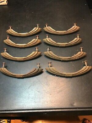 """Vintage Set Of Eight Brass Tone 5"""" X 1"""" Art Deco Drawer Pulls. Very Cool!"""