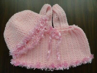 Baby Born Dolls  Hand Crochet Pinafore In Pretty Pink