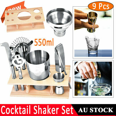 550ml Stainless Steel Cocktail Shaker Mixer Drink Bartender Tools Home Bar Kit
