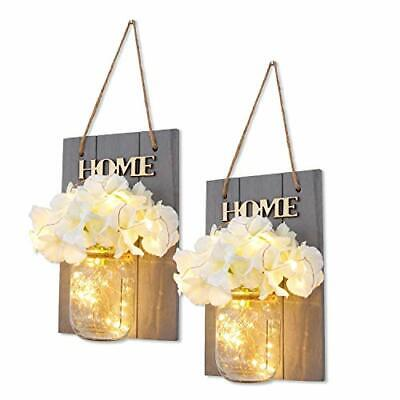 HABOM Mason Jar Sconce - Rustic Wall Decor with Fairy Lights - Hanging Wall Art