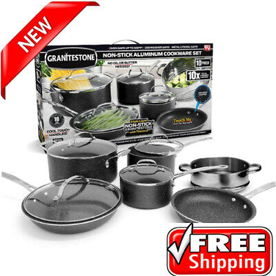 Granite Stone 10-piece Nonstick Scratch Proof Cookware Set Dishwasher Safe New!