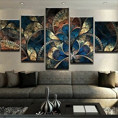 Framed Home Decor Abstract Fantasy Flowers Canvas Prints Painting Wall Art 5PCS