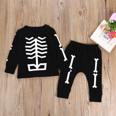 Newborn Baby Boy Skeleton Print Party Costumes T-shirt Top+Pants Clothes Outfits