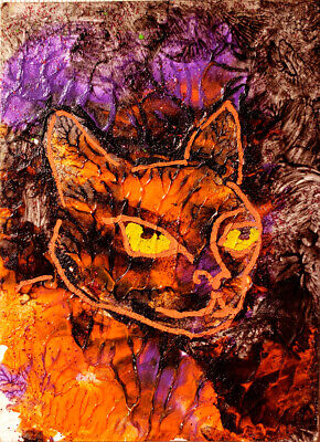 Original Cat Painting ACEO Artist Trading Card