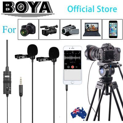 """6M BOYA BY-M1DM Dual-Head Lavalier Clip Microphone With 1/8 """"Stereo Connector Vq"""