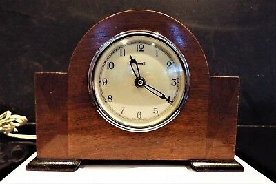 Art deco mahogany  Mantel Clock  runs for ever when switched on