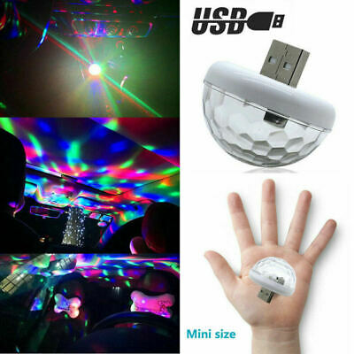 USB LED Car Atmosphere Lamp Interior Ceiling Ambient Colorful Light Projector bn