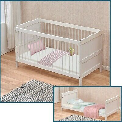 White Wooden Baby Cot Bed Nursery Bed Converts to Toddler Bed 145×75cm Bedroom