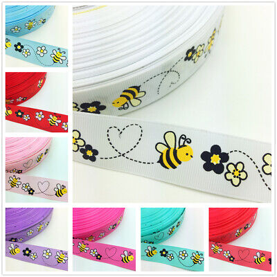 NEW DIY 5 Yards 1'' 25mm Little bee Printed Grosgrain Ribbon Hair Bow Sewing