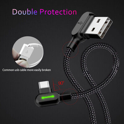 Lightning Cable Cord 90° Type C Braided Light Fast/Charging Data Sync LED USB