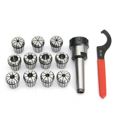 11pcs 1/8-3/4 Inch Collets Set With MT2 Shank Chuck And Spanner For Milling