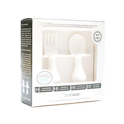 Grabease | First Cutlery For Baby | Fork & Spoon Set | Cutlery Set | White | New