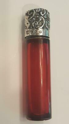 Antique 1890 Birmingham Sterling Silver & Red Glass Scent / Perfume bottle