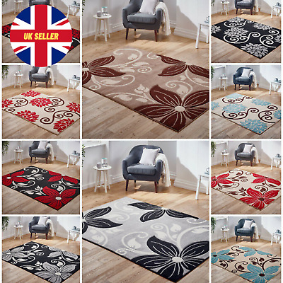 Modern Small Extra Large Carved Floral Multi Coloured Grey Balck Red Sale Rugs
