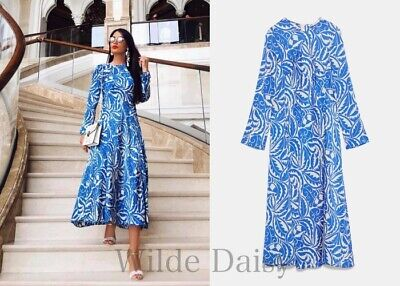 d2783075 Zara New Long Printed Dress Maxi Flowing A-Line Blue Beige Sleeves Size Xs-