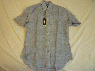 6630586d GITMAN BROS VINTAGE Linen Blue Plaid SS New WO Tags $180 S Made In USA