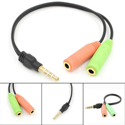 Y Splitter 1 Jack Male To 2 Female Pc Headphone Mic Adapter Cable Durable Hot