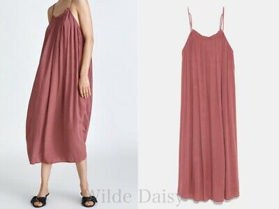 737654db Zara New Long Camisole Dress Nude Pink Long Midi Flowing Strappy Vneck Size  Xs-M