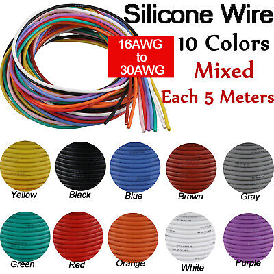 16AWG~30AWG Flexible Stranded Silicone Wire Tinned Copper Line 11 Colors 5 Meter