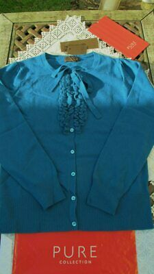 new dark teal 100% CASHMERE ruffle & tie CARDIGAN by PURE CASHMERE uk12 bnwt