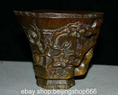 """5.6"""" Marked Old China Ox Horn Dynasty Carved plum blossom wineglass oxhorn Cup"""