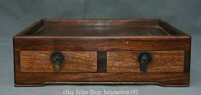 """12"""" Collect China Huanghuali Wood Hand Carved Drawer Furniture Desk Storage Box"""