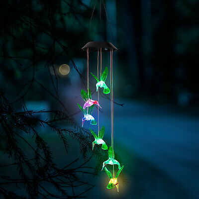 Waterproof Outdoor Hanging LED Solar Hummingbird Wind Chimes Lights Garden RGB