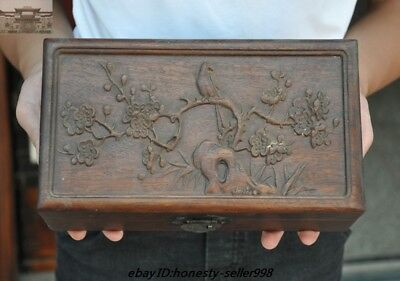 Chinese old Huanghuali wood Carving Plum blossom bird statue storage box boxes