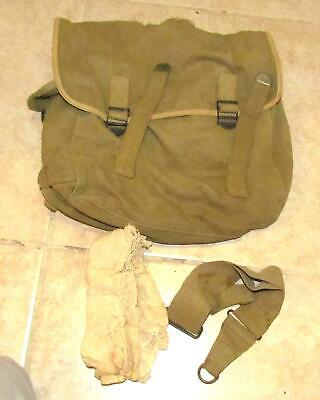 Rare Original Early WW2 U.S. Army OD Duck Canvas Waterproof Musette Bag 1942