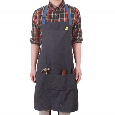HENSE Unisex Heavy Duty Waxed Canvas Work Apron with Waterproof Function, Soft