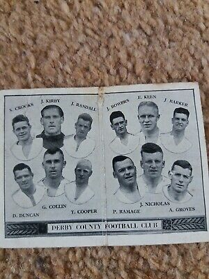 1930S Barratts Derby County Team Fold Out Cigarette Card Rare