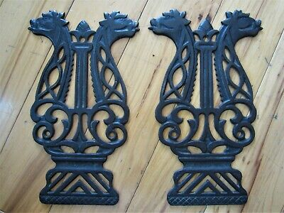 GRIFFINS Pair 1800s Ornate Cast Iron Plaques Victorian Griffons Foot Pedal Grate