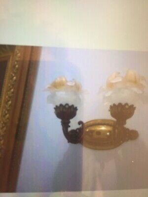 Pair of Brass / Iron Vintage Antique Wall Sconeces