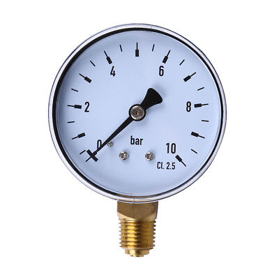 Fj- 0-10Bar Air Pressure Hydraulic Gauge Meter 1/4'' Npt Side Mount Manometer Fa