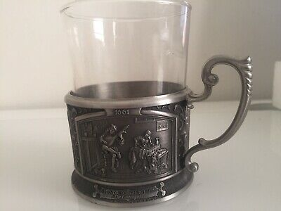 Antique Vintage Tea Cup Holder With 3 Beautiful Scene.