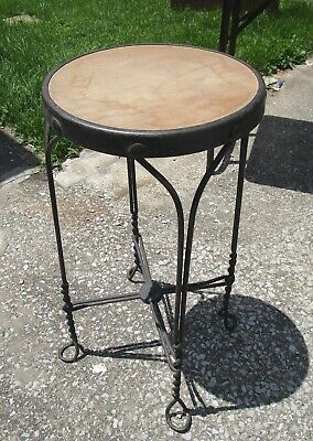 1900-1950 Antiques Vintage Ice Cream Parlor Stool Twisted Steel Legs Primitive Wooden Seat Wow!