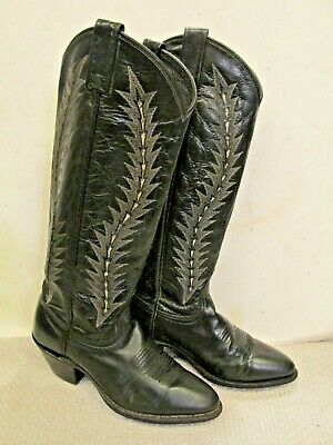 cb69a616926 DAN POST VINTAGE Black Leather Western Cowgirl Cowboy Boots Women's ...
