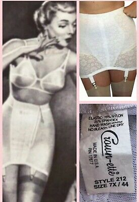 69ca3468c1d 7X for 44 Waist Vintage New Open Girdle White Lace Powernet 4 Metal Garters  212
