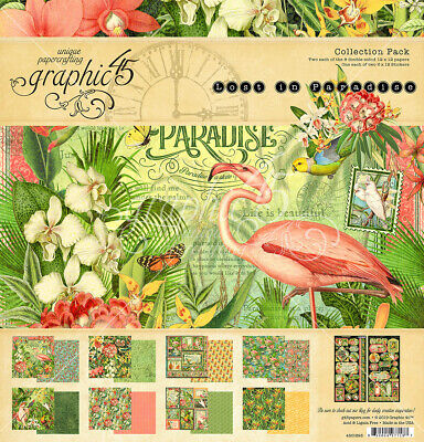 Graphic 45 Lost in Paradise Collection Pack 12 x 12  Ephemera Cards 8 x 8    NEW