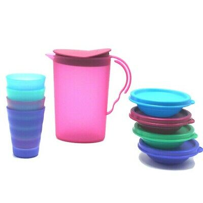 TUPPERWARE NEW IMPRESSIONS KIDS 13 PC MINI PARTY SET PITCHER TUMBLERS BOWL Pink