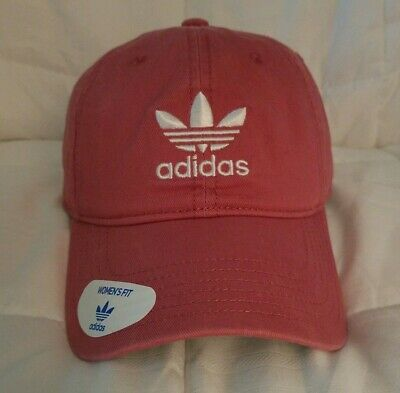 612998109 Adidas Womens Fit Relaxed Strapback Hat Trace Maroon W/White Adidas Logo  Cotton