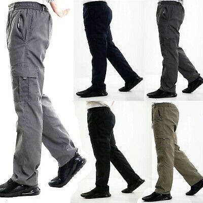 Mens New Elasticated Cargo Combat Cotton Casual Lightweight Trousers Pants M-3XL