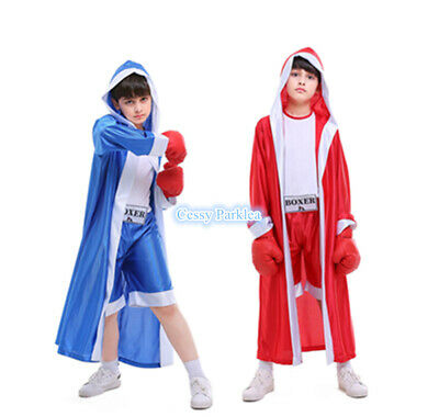 H4-4 Champ Child's Boxer Costume Book Week Boy's Sport Outfit Blue Red