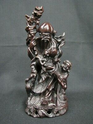 "Vintage Chinese 10 1/2"" Wood Sculpture Figurine Shoulao God of Longevity"