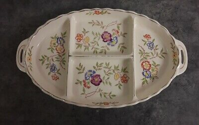 "Vintage 11"" Porcelain Relish Tray Cream And Floral Divided Platter Made In Japan"